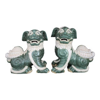 Large Scale Chinoiserie Style Chinese Glazed Pottery Foo Dogs - a Pair For Sale