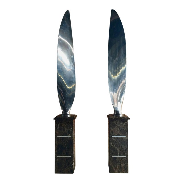 Tall Polished Chrome Airplane Propeller Blades Sculptures - A Pair For Sale