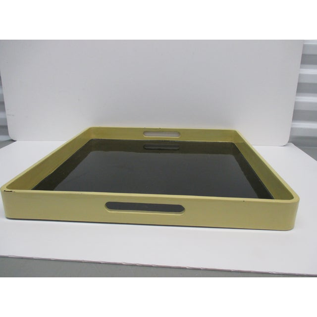 Serving Tray by Mitchell Gold & Bob Williams with Handles Lightly scratched. Sold as is... In shades of green and black...