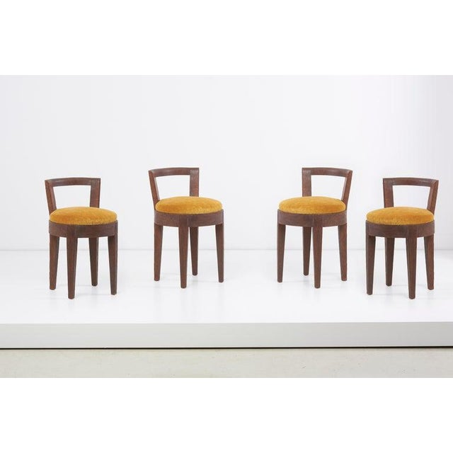 Pair of Art Deco stools or chairs by Francisque Chaleyssin. France, circa 1940s. Newly reupholstered. 2 pairs available.