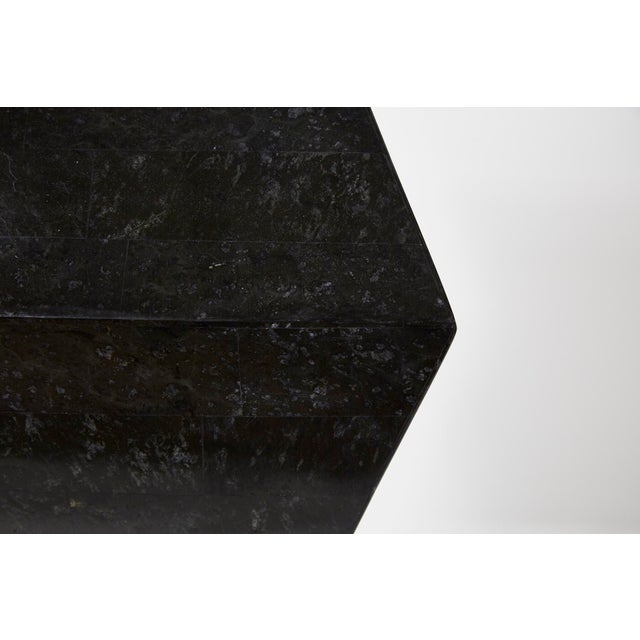 1990s Vintage Oversized Postmodern Tessellated Black Stone Accordion Pedestal For Sale - Image 12 of 13