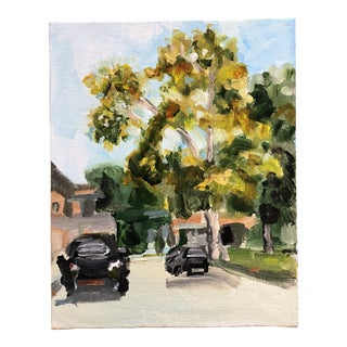 Original Impressionist Landscape Painting With Cars For Sale