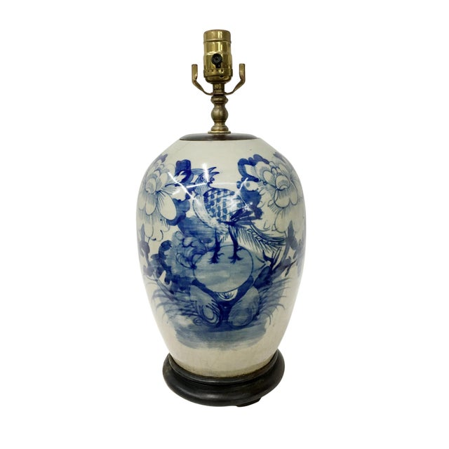 Late 19th Century Chinoiserie Celadon Blue & White Porcelain Ginger Jar Table Lamp For Sale - Image 4 of 4