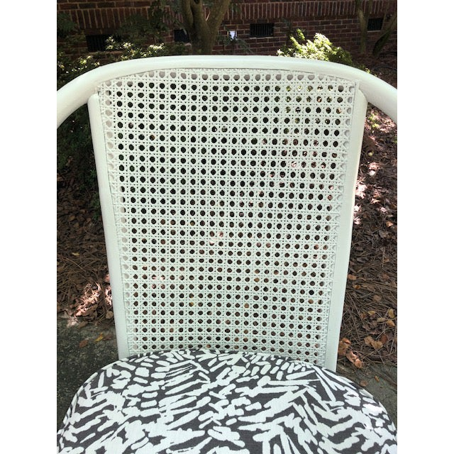 Vintage Mid Century White Rattan Arm Chairs- A Pair For Sale - Image 6 of 12