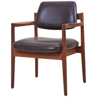Jens Risom Armchair in Walnut and Leather by Jens Risom Inc. For Sale