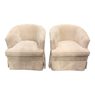 1960s Hollywood Regency Newly Upholstered Cream Fabric Club Chairs - a Pair For Sale