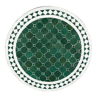 Moroccan Ceramic Tile Round Table Top For Sale
