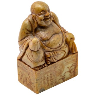 Chinese Soapstone With Shoushan Buddha Hand Carved Chop Seal For Sale