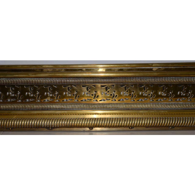 Late 18th to Early 19th Century English Pierced Brass Fire Fender For Sale - Image 4 of 7