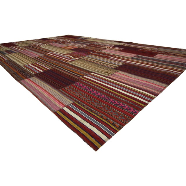 Mid-Century Modern Modern Vintage Turkish Jajim Kilim Flat-Weave Rug With Colorful Stripes - 7′5″ × 11′5″ For Sale - Image 3 of 5