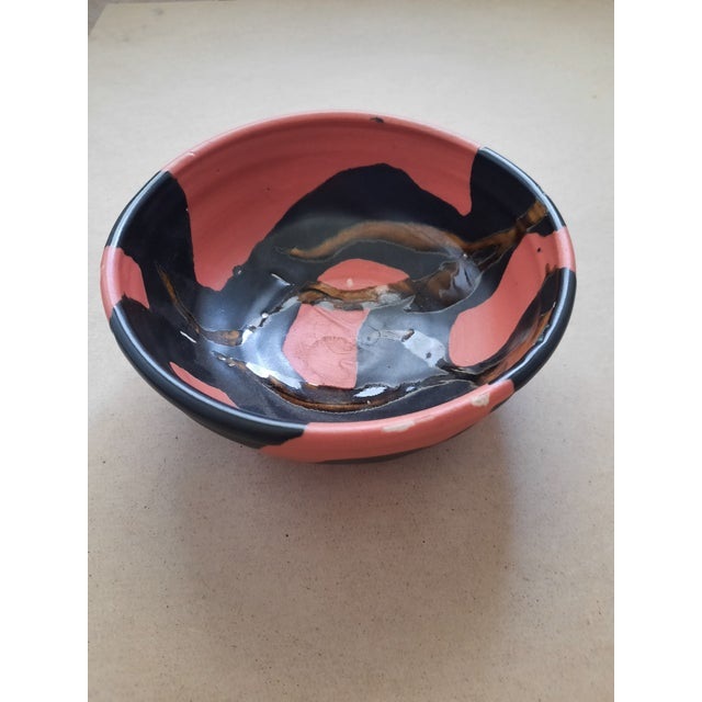 Market found, I love the rich chocolate brown and caramel glaze on this orange studio pottery bowl. Signed on the bottom,...