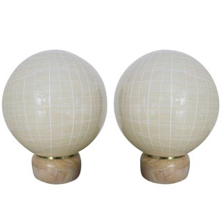 Pair of Italian Murano Glass Globe Lamps by Venini For Sale