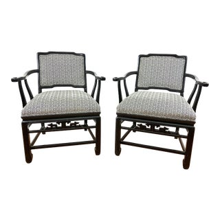 Pair of Chinese Black Lacquered Chairs For Sale