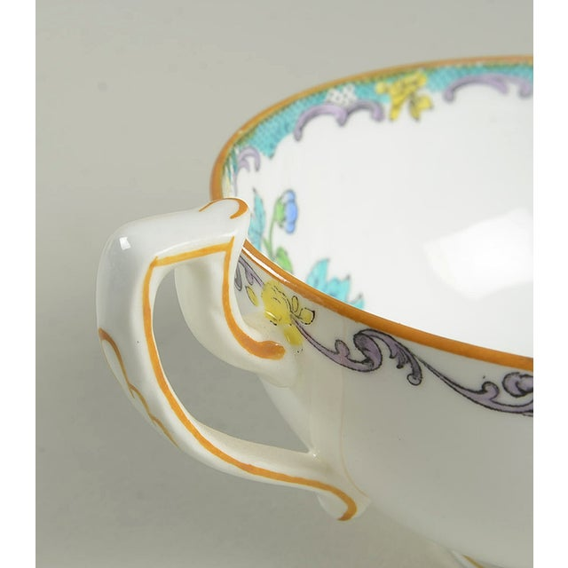 Minton Double Handled Footed Bowl and Saucer - Set of 6 For Sale - Image 9 of 13