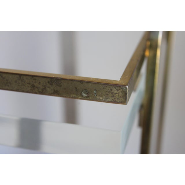 Extremely Rare Karl Springer Custom Ordered Mid Century Modern Heavy Brass and Lucite Bar Serving Cart Table For Sale - Image 9 of 12