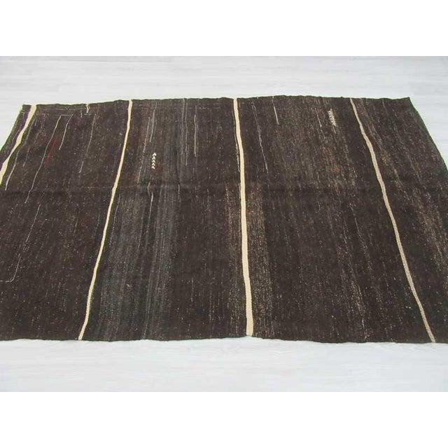 Boho Chic Vintage Turkish White Striped Black Goat Hair Kilim Rug - 5′2″ × 8′3″ For Sale - Image 3 of 6
