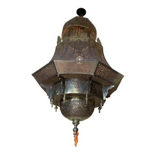 Mid 20th Century Metal Moroccan Chandelier For Sale