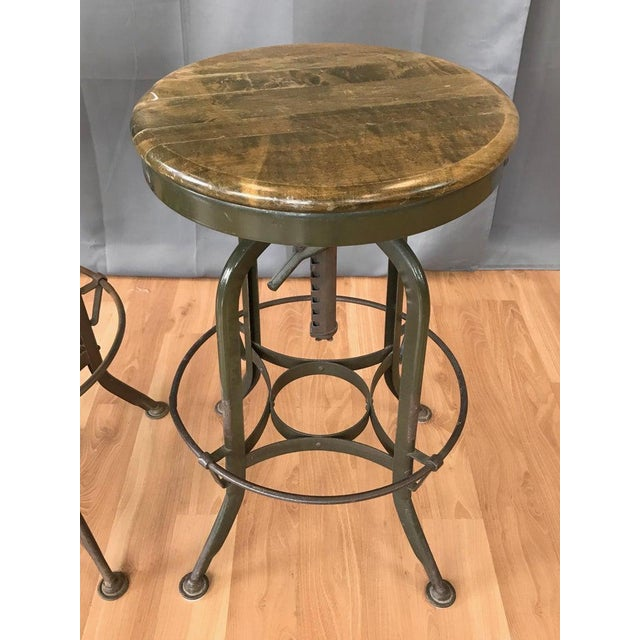 Toledo Industrial Adjustable Height Backless Swivel Stools, Three Available For Sale In San Francisco - Image 6 of 13