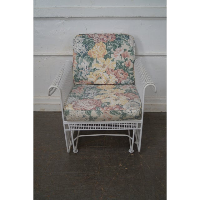 Peter Woodward Vintage Woodard White Painted Patio Glider Lounge Chair & Ottoman For Sale - Image 4 of 10