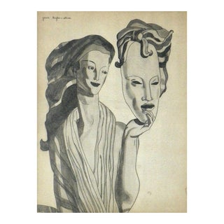 """1930s Art Deco """"Girl Holding Mask"""" Watercolor Drawing by Dufas & Stine For Sale"""