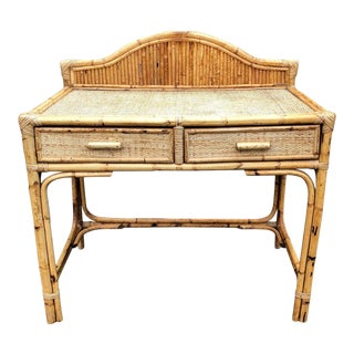 Vintage Bamboo and Rattan Desk For Sale