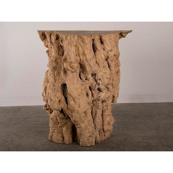 Natural Washed Teak Console Table from Indonesia. This table is one half of a massive tree trunk that was naturally felled...