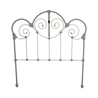 Victorian Style White Painted Iron Full Size Headboard For Sale