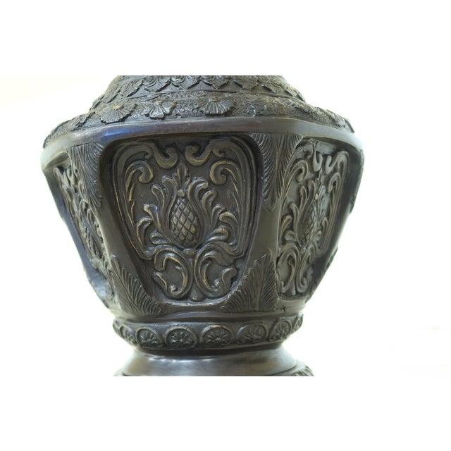 2000 - 2009 Maitland Smith Bronze Pagoda Form Lidded Urn For Sale - Image 5 of 10