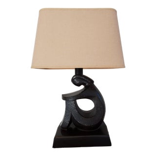Contemporary Seated Woman Bronze Table Lamp With Shade For Sale
