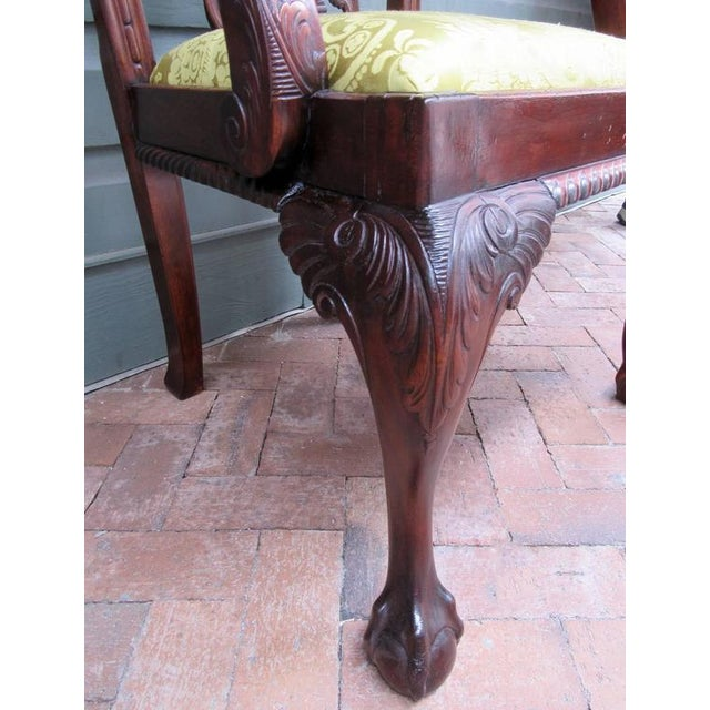 Yellow Set of Eight 20th Century English Chinese Chippendale Mahogany Dining Chairs For Sale - Image 8 of 10