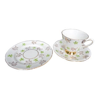 Holly English China Cup, Saucer & Plate For Sale