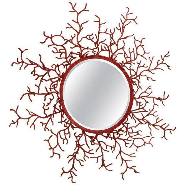 """Vintage Spanish Painted Metal """"Coral"""" Mirror - Image 3 of 3"""
