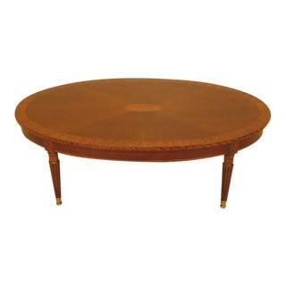 1990s Elliptical Mahogany Inlaid Top Coffee Table