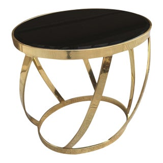 Rare Oval Onyx Brass Side Table by Karl Springer For Sale