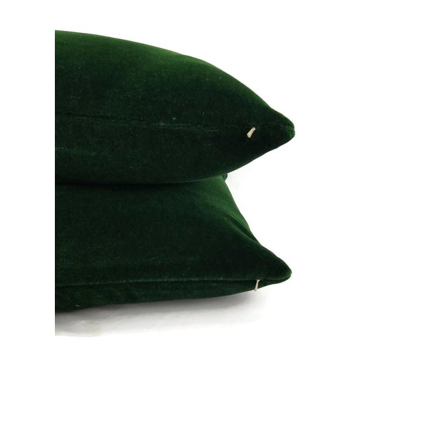 From Pierre Frey is Bold in the color Forest. This is a dark emerald green velvet mohair pillow cover. The color is a rich...
