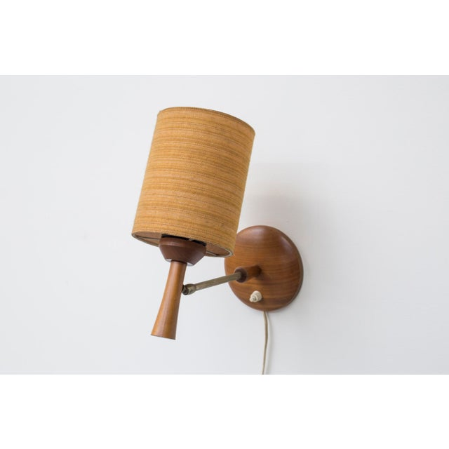 Mid-Century Teak and Brass Wall Lamp - Image 9 of 11