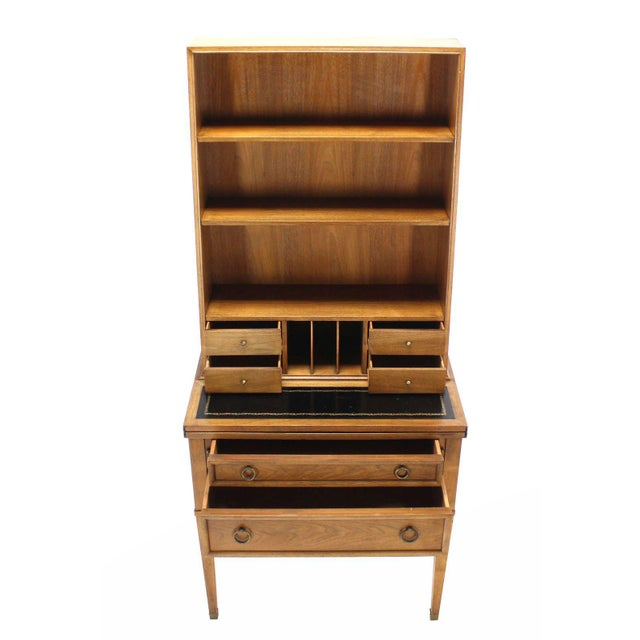 Transitional Baker Modern Petite Secretary With Bookcase on Slim Legs For Sale - Image 6 of 10