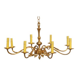 Large French Brass 8-Arm Chandelier For Sale