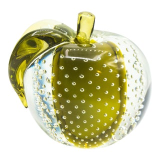 Salviati Sommerso Control Bubble Mid-Century Modern Art Glass Apple Bookend Paperweight For Sale