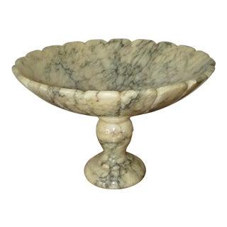 Vintage Italian Alabaster Carved Pedestal Bowl For Sale