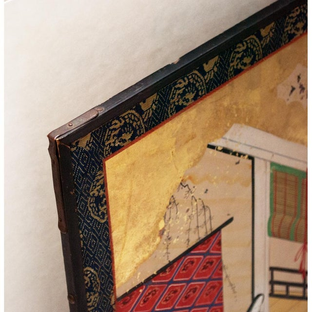 17th C. Japanese the Tale of Genji Byobu Screen For Sale - Image 11 of 13