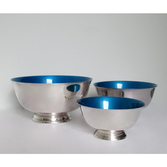 Reed & Barton Silver Plate Bowls With Peacock Blue Enameled Interiors -Set of 3 For Sale - Image 13 of 13