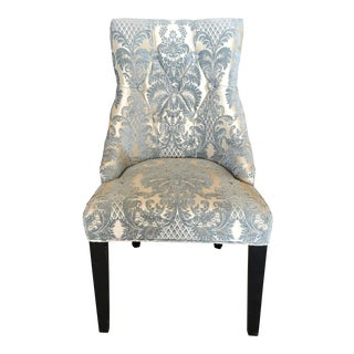 Blue Brocade Slipper Chair For Sale