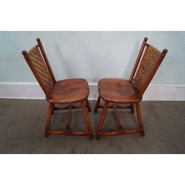 Brown Old Hickory Signed Vintage Woven Splint Back Dining Chairs - Set of 4 For Sale - Image 8 of 10