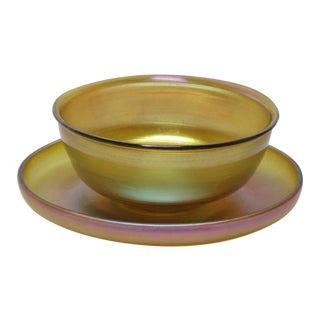 Tiffany Gold Favrile Dessert Bowl and Under Plate - Set of 2 For Sale