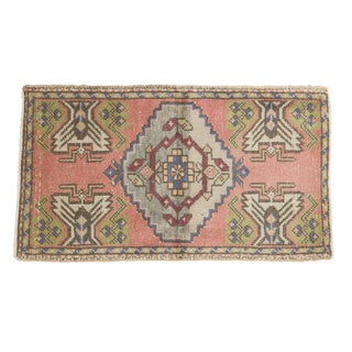 "Vintage Distressed Oushak Rug Mat - 1'9"" X 3'1"" For Sale"