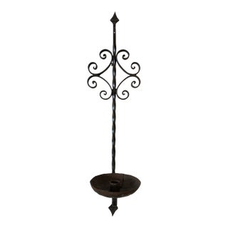 20th Century Industrial Wrought Iron Wall Mounted Candle Sconce For Sale