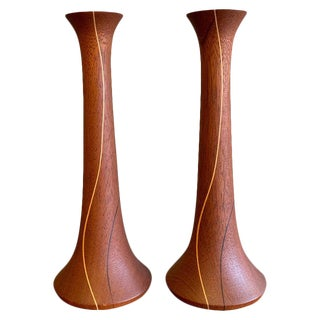 1960s Mid-Century Modern Hand-Turned Teak Candlestick Holders - a Pair For Sale