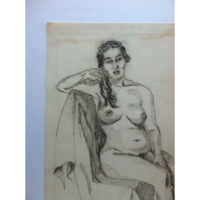 """This is an original drawing/sketch on paper that is titled """"Playing with Hair - Nude"""" by Tom Sturges Jr. and is dated..."""