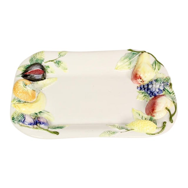 Large Repoussé Majolica Fruit Motif Serving Platter For Sale